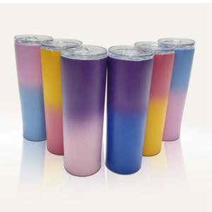 20 oz in acciaio inox dritto Cup Gradient alto Magro Bicchiere vuoto Isolamento idrico tazza di caffè d'alimentazione tazze con coperchio LJJA3549
