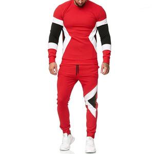 Striped del Designer Panelled cappuccio dei pantaloni 2pcs Set di abbigliamento Pullover Outfits Uomo Abbigliamento Moda Uomo con cappuccio Tute