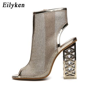 Eilyken New Sexy Golden Bling Gladiator Sandals Peep Toe Zip Shoes Clear Chunky Transparent heels Pumps Sandals Women Boots Y200702