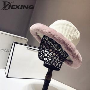 Otoño Nueva felpa de ala ancha del sombrero del cubo Mujeres Winter pana la piel de imitación de lana caliente del sombrero del cubo señoras de las muchachas gorro de terciopelo
