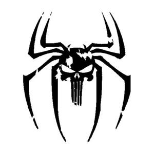 14.7CM * 17.8CM Spider Punisher Skull Vinyl Decal Sticker per auto nero / argento CA-1260