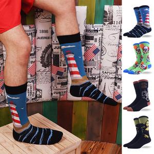 men's tide oil painting ssocks wholesale personality retro character socks men's winter tube socks foreign trade tide