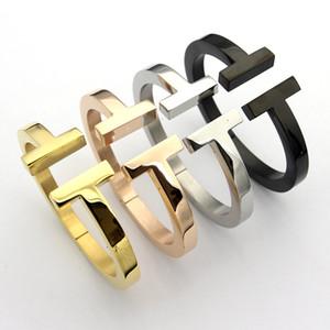 Modelos de explosión doble T pulsera gruesa de 18 quilates de oro rosa Letra T pulsera gruesa brazalete de acero y titanio negro para hombres y mujeres