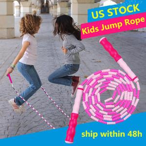 США STOCK из бисера Practocal скакалка с противоскользящей ручкой Легкой Регулируемой скакалкой Фитнес Веревки для взрослых Kid ChidrenFY6236