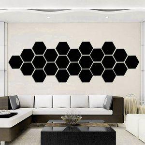 Amigável Cristal Tridimensional espelho de superfície paredes adesivos Hexágono Metope Honeycomb Decore decalques Home Decor Wall Art