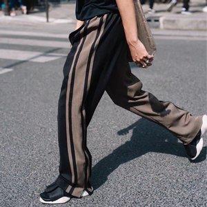 A righe di colore di contrasto Impiombato Allentato Pantaloni Casual Uomini E Donne Cerniera Laterale Streetwear Baggy Pantaloni Pista