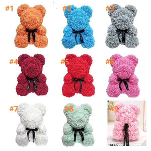 no box 25cm Soap Foam Bear of Roses Teddi Bear Rose Flower Artificial New Year Gift Valentines Gift Christmas 9 colors by win007