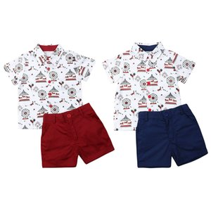 Toddler Baby Boy Clothes Summer Beach Merry-go-round Print Shirt Tops Short Pants 2Pcs Outfits Formal Gentleman Suit Clothes