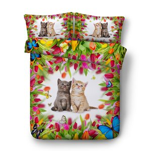 Husky couette 3pc (1 Housse de couette + 2 Pillow Shams) Literie 3D Sets Bulldog Puppy Pet Cat Sheep chaton Papillon floral Consolateur Bedspreads NO