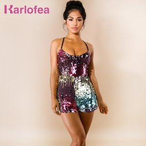 Karlofea Women Fashion Slim Colorful Shiny Sequin Rompers Sexy Sleeveless Strap Short Jumpsuit Lovely Club Party Sequin Playsuit T200704