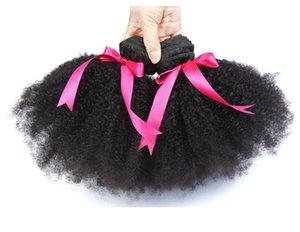 Brésilien Afro Brésilien Afro bouclés cheveux bouclés non transformés Brésiliens Afro Kinky Curly Bundles pas cher 8A malais péruvienne Virgin Armure de cheveux humains FZP214