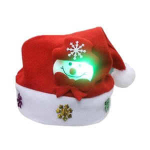 Christmas Hat for Children and Adults Non-Woven Pleuche Snowman Hat with Lights