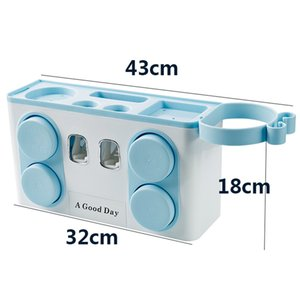 Bathroom Set Accessories Toothbrush Holder Automatic Toothpaste Dispenser Suction Cup Wall Mount Bathroom Storage Box