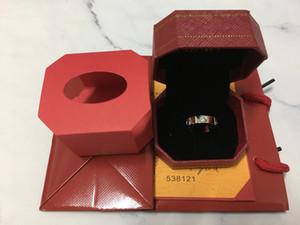 Marca de moda de aço Titanium rose anel de amor de ouro anel de amante de prata chave de fenda de casamento jóias presentes Para As Mulheres homens anéis com caixa de conjunto