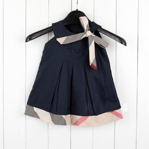 INS che vende 5 colori 2019 NUOVO arrivo ragazze di estate vestito sleeveless del bambino del cotone di alta qualità plaid bow dress spedizione gratuita