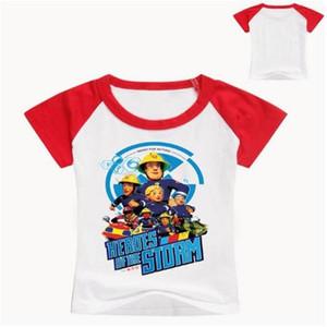 2020 Los niños de dibujos animados bombero Sam Impreso divertidos de la camiseta de los niños de verano de manga corta Tops grande de las muchachas Niños Gran Blanco ocasional camiseta del bebé