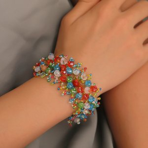 New Ethnic Group Wind Colorful Natural Stone Gravel Beading Bohemia Crystal Elastic Force Hollow Out For Women