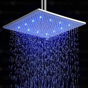 All'ingrosso Moda doccia quadrati 8 10 12 pollici doccia a pioggia Bagno rubinetto Luce Free Energy LED Shower