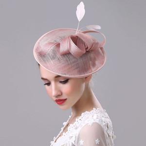 estilo retro diadema nupcial de lino del sombrero de novia de gasa con malla sombrero de British European sombreros al por mayor de la fiesta Meet Accesorio para el pelo