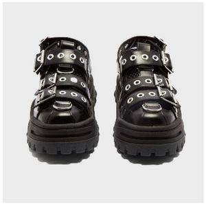 QWEDF 2019 été femme Sandales plateforme femme Chaussures Hot Génoise savates Rivets Baotou Chaussures Trekking Flats G3-100