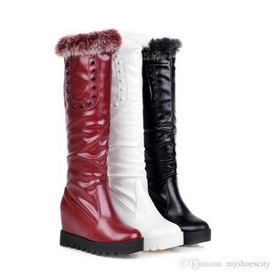 size 33 to 43 keep warm add plush wedge heel fur boots white knee high boots wine red black