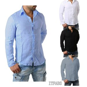 Luxury Mens Cotton Linen Blend Long Sleeve Shirts Comfortable Men Casual Formal Slim Fit Solid Color Shirt Tops