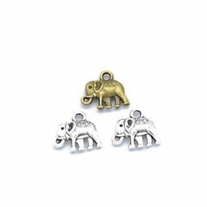 100pcs / pack de Charms Elephant Bijoux bricolage Faire Pendentif Fit Bracelets Colliers Boucles d'oreilles en argent à la main Artisanat Bronze Charm