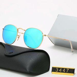 Klasik Yuvarlak Güneş Marka Tasarım UV400 Gözlük Metal Altın Çerçeve Güneş Gözlükleri Erkek Kadın Ayna 3447 Güneş Polaroid cam Lens