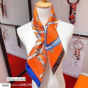 Designer scarf ladies slim narrow bag handle silk scarf double-sided printed twill satin small ribbon Christmas gifts 49 ro