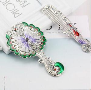 DHL Hand Held Mirror Vintage Hand Mirror butterfly Flower Pattern Decorative nd Metal Vanity Mirror Comb Set