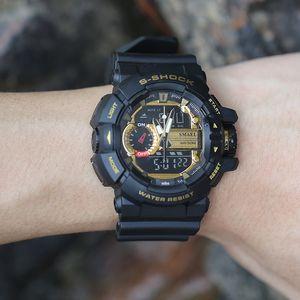 Relógios de pulso Militar Homens Relógios Digital para 2020 Amarelo Esporte Relógios Tempo Dual LED relógio digital Quartz Analog-Digital1436 Femininos
