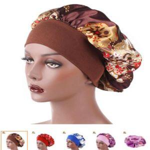 New Fshion Women Satin Night Sleep Cap Hair Bonnet Hat Silk Head Cover Wide Elastic Band Shower Cap . a63