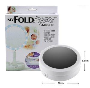 My Fold Away Make Up LED Зеркало 360 градусов вращения Сенсорный экран Макияж Косметика Складной Портативный Компактный Карман 5