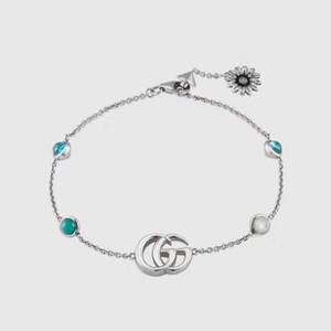Италия Gu .. Роскошные Chic Женщины браслет серебро и Emerald цепи моды простые дамы звену цепи браслеты ювелирные изделия высокого качества с коробкой