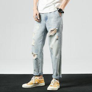 iiDossan 2020 Marca Buraco Denim Jeans Men Casual Hiphop Jeans Coréia Estilo White Denim Moda Streetwear Regular Fit Calças