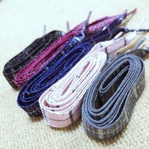 1Pair British Style Plaid Shoelaces Cotton And Linen Sneaker Sports Casuals Shoes Lace Length 60 80 100cm For Men Women Shoelace