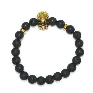 5PCS European And American Foreign Trade Jewelry Men's Beads Bracelets Volcanic Rock Natural Stone Various Gold Patterns Bracelet