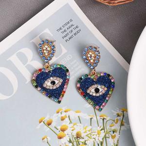 Declaração Chic Exaggerate Vintage FASHIONSNOOPS azul novo Evil Eye brincos para mulheres de Lady Love Coração de Cristal Brinco