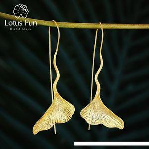 Lotus Fun Real 925 Sterling Silver Earrings Designer Fine Jewelry Vintage 18K Gold Ginkgo Leaf Drop Earrings for Women Brincos SH190930