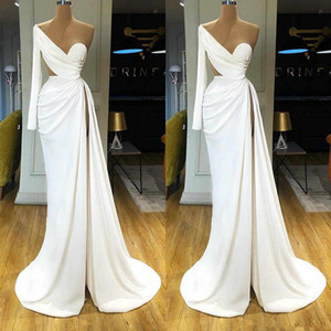 White Mermaid Prom Dresses One Shoulder Sexy High Split Long Sleeve Evening Dresses Ruffles Tiered Satin Pageant Gowns