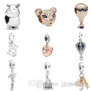 HYWo 925 Sterling Silver 2019 Summer Rose Air Balloon Lioness Rhinoceros Bead Elephant Dangle Charm Openable Heart Pendant