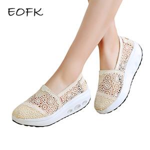 EOFK 2019 Verão Mulheres Plano Plataforma sapatos de mulher Confortável respirável doces Flats mulheres casuais malha Lace Padrão Shoes