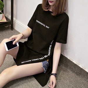 Nkandby Plus size WONDERFUL DAY Print Long T shirts Summer Women Loose Slit Femme Tops Cotton Tshirt Short sleeve Ladies t-shirt CX200615
