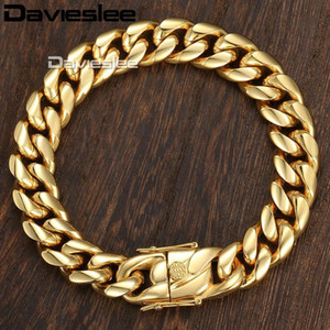 Miami Curb Cuban Mens Bracelet Chain Hip Hop 316L Stainless Steel Silver Gold Color 8 12 14mm 9inch DHBM111