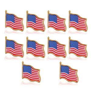 10 unids / lote Pin de solapa de bandera americana Estados Unidos EE. UU. Sombrero Alfiler de corbata Insignia Alfileres Mini Broches para bolsas de ropa Decoración