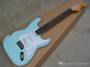 Factory Custom Sky-blue Vintage Body Electric Guitar with SSS Pickups,White Pickguard,Rosewood Fretboard,Offer Cutmomized