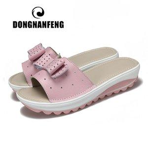 DONGNANFENG Frauen Weibliche Damen Echtes Leder Schuhe Plattform Sandalen Slipper Outdoor Sommer Kühlen Strand Bogen 41 42 BLAC-1792