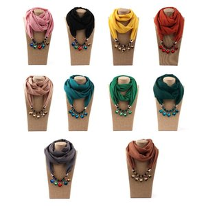 Decorative Hijab Scarf Women Scarves Pendant Beaded Chain Turban Hat Solid Colour Fashion Scarf Necklace Necklace