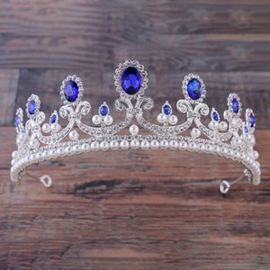 Corona barocca rosso blu bianco cristallo diademi nuziali accessori per capelli oro vintage corone diadema strass diadema da sposa
