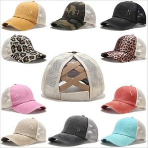 Ponytail Ball Caps Cross Messy Buns Hats Girls Washed Cotton Baseball Caps Hats Unisex Sunshade Hat Outdoor Snapbacks Cap Custom Label B7583